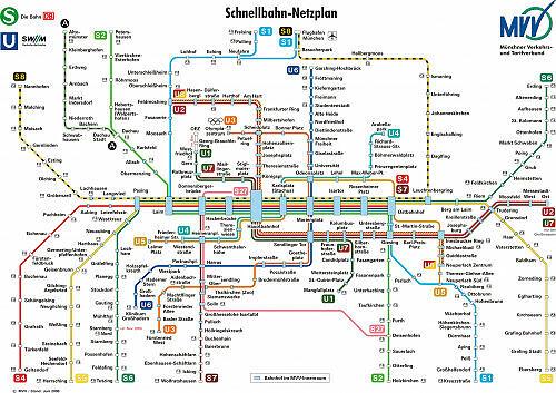 Schnellbahnnetzplan Juni 2000