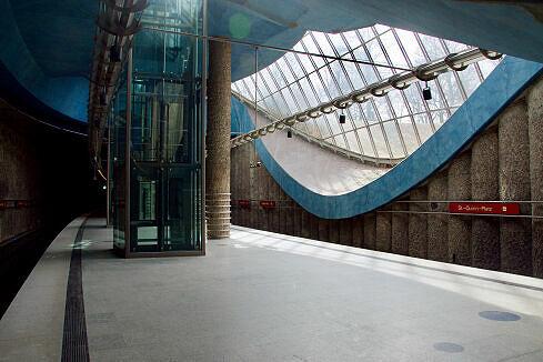 Nördlicher Bahnsteigbereich am St.-Quirin-Platz