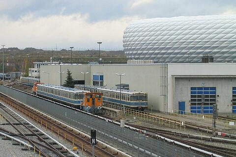 Wagen 103 und 104 auf der Rückkehr von Nürnberg im Betriebshof angekommen