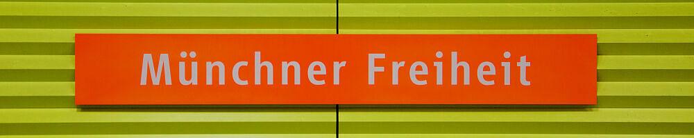 Stationsschild Münchner Freiheit - U3-Seite