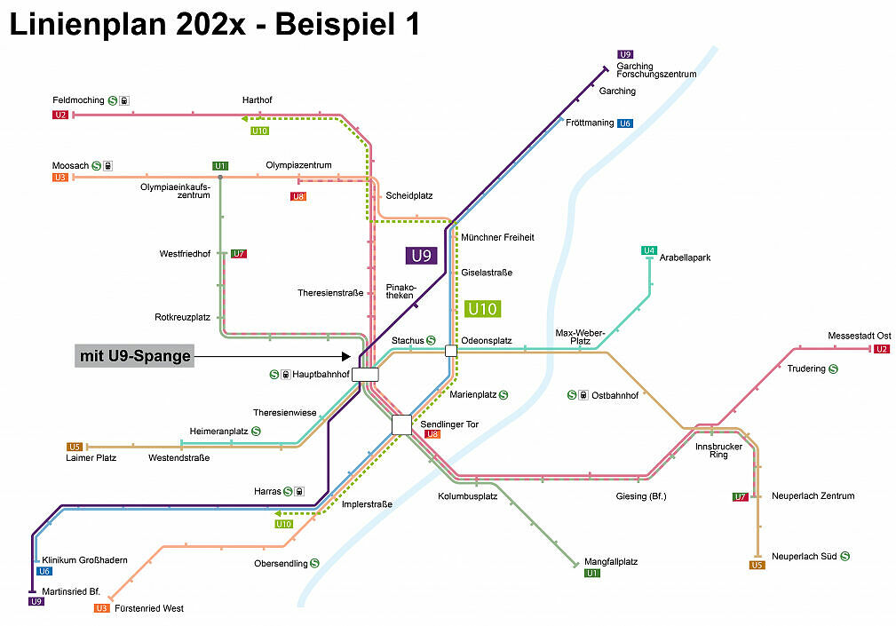 Stand 2014: Beispiel für mögliches U-Bahn-Liniennetz 202x (mit U9-Spange)